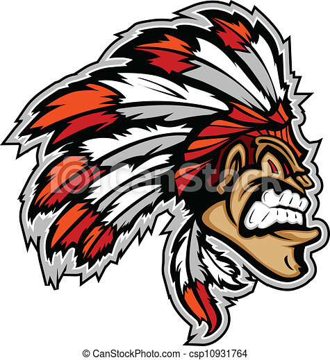 indian chief mascot head vector cartoon cartoon indian clip art rh canstockphoto com indian chief head clipart indian chief headdress clipart