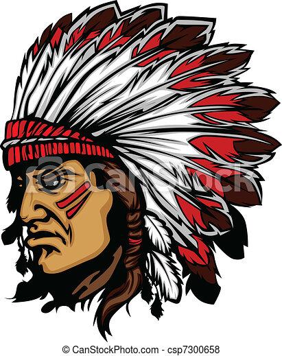 Indian Chief Mascot Head Vector Gra - csp7300658