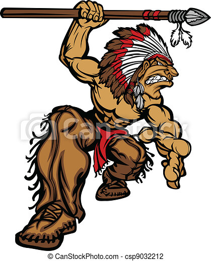 Indian Chief Mascot with Spear - csp9032212