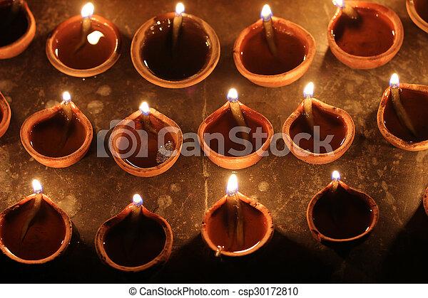 Indian Clay Oil Lamps, Festival Season   Csp30172810