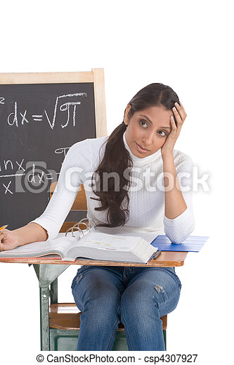 Indian college student woman studying math exam - csp4307927