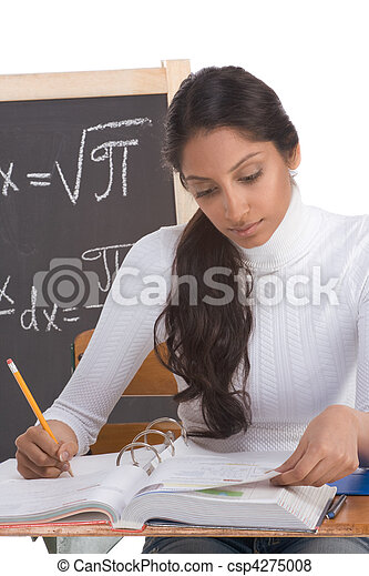 Indian college student woman studying math exam - csp4275008
