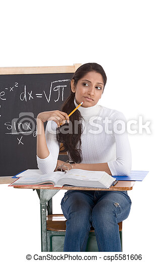 Indian college student woman studying math exam - csp5581606