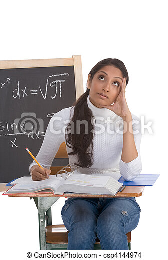 Indian college student woman studying math exam - csp4144974