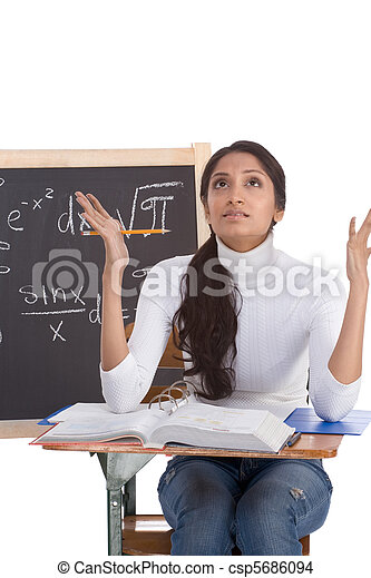 Indian college student woman studying math exam - csp5686094