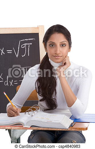 Indian college student woman studying math exam - csp4840983