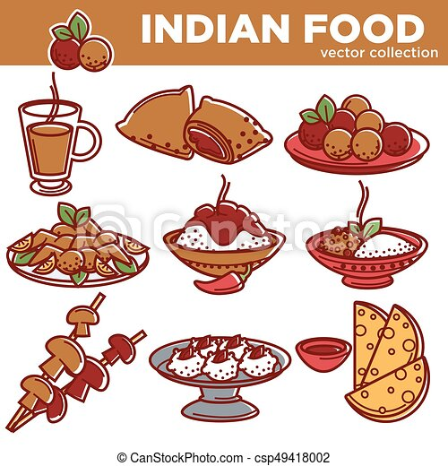 Indian cuisine traditional food dishes vector flat icons for Art of indian cuisine