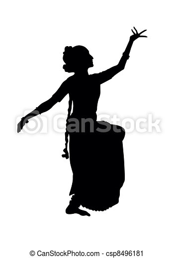 indian dancing black silhouette of dancer from india isolate