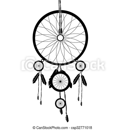 vector illustration indian dream catcher silhouette amulet vector rh canstockphoto co uk native dream catcher clipart dream catcher clipart black and white