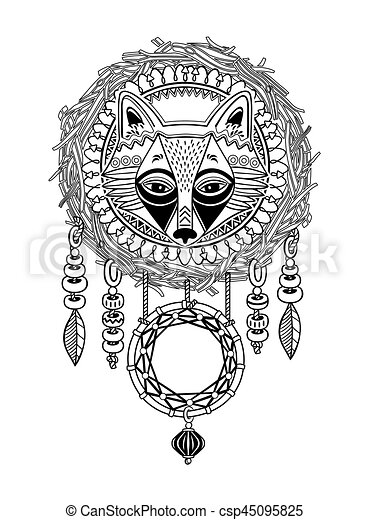 Indian Dream Catcher With Ethnic Ornaments And Fox