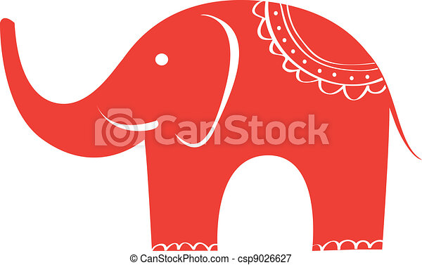 Indian elephant. Cute animal character. - csp9026627