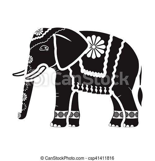 Indian elephant icon in black style isolated on white ...