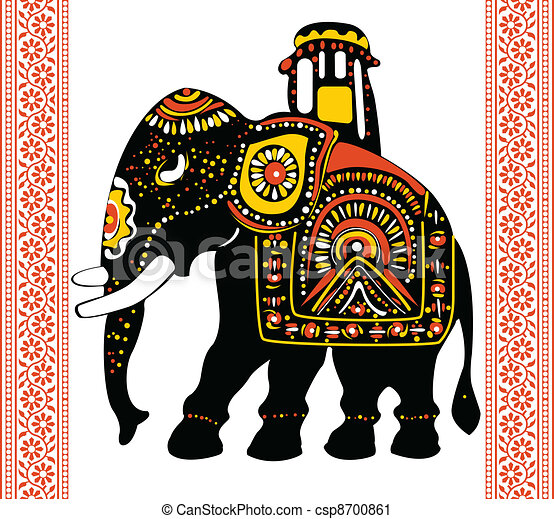 vector of indian elephant vector clip art search illustration rh canstockphoto com decorated indian elephant clipart indian elephant face clipart