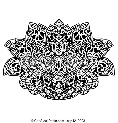 Indian ethnic ornament. Hand drawn henna tattoo decorative element - csp42190231