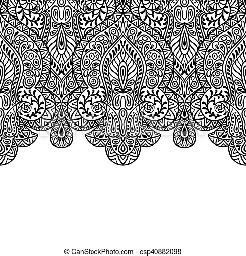 Indian ethnic seamless birder with hand drawn ornament - csp40882098