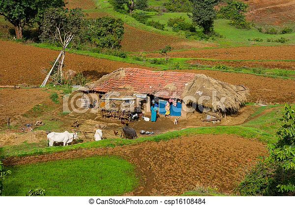Indian Farming Community A Rural House With Farm In Ratangad India