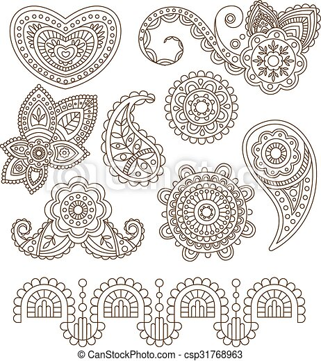 Indian Floral Ornaments Mandala Henna Vector Illustration Indian