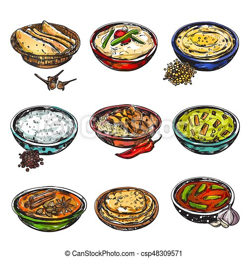 Indian Food Icon Set - csp48309571  sc 1 st  Can Stock Photo & Indian food icon set. Indian food icon set with isolated colored ...