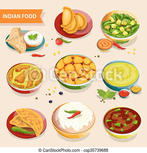 Indian food set. Indian food set of national dishes with ...