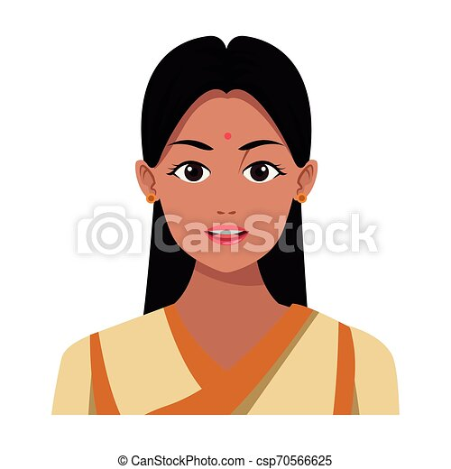 Indian Girl Face Avatar Cartoon