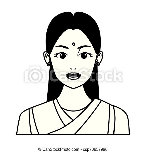 Indian Girl Face Avatar Cartoon In Black And White