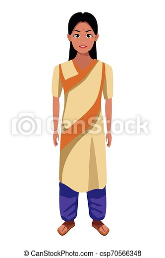 Indian Girl Wearing Traditional Hindu Clothes