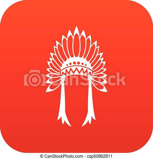 Indian headdress icon digital red - csp50862811