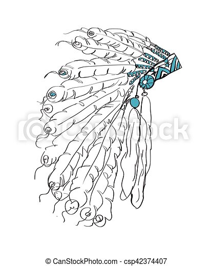 Indian headdress with feathers - csp42374407