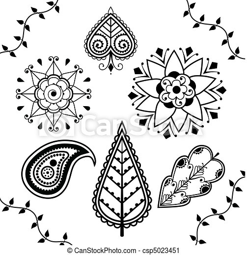 Black And White Indian Henna Design Elements Isolated On A White