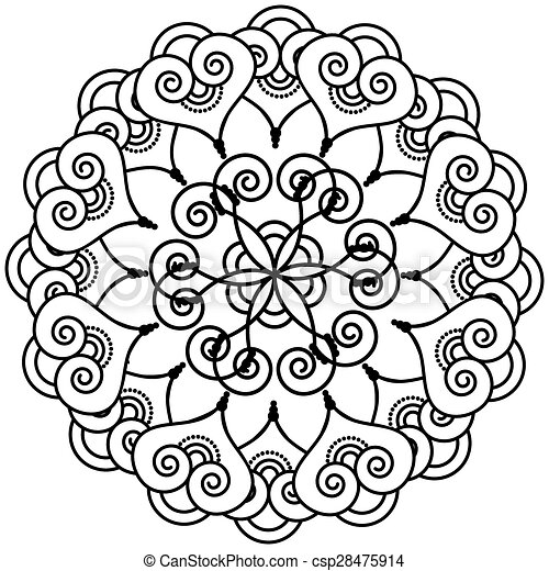 Indian henna inspired flower shape with inner floral star