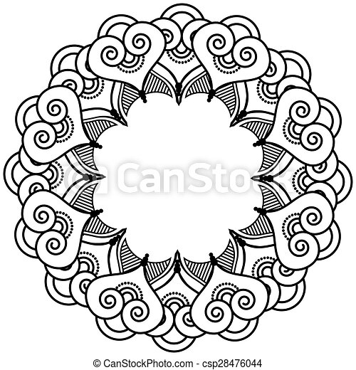 Indian Henna Tatto Inspired Heart Shapes Wreath With Leaves Element