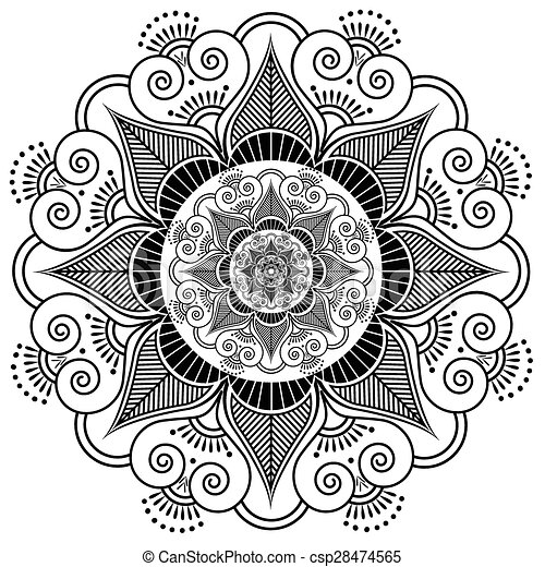 Indian Henna Tattoo Flower Pattern Clip Art Vector