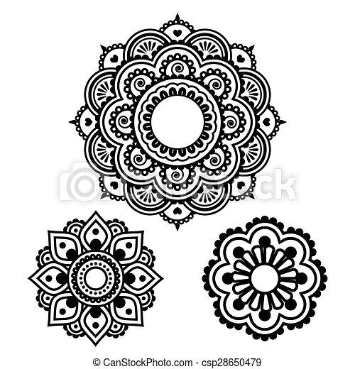 3904061b0 Indian henna tattoo round design - Vector ornament - orient ...