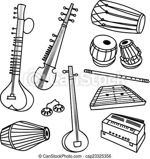 indian instruments vector set of isolated traditional