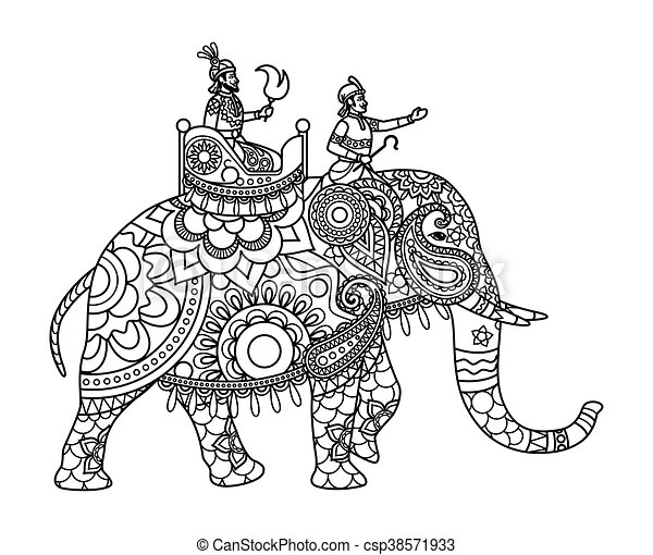 Indian maharajah on elephant coloring pages - csp38571933