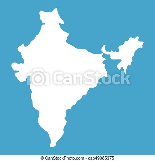 Indian map icon white isolated on blue background vector vectors indian map icon white csp49085375 gumiabroncs Choice Image