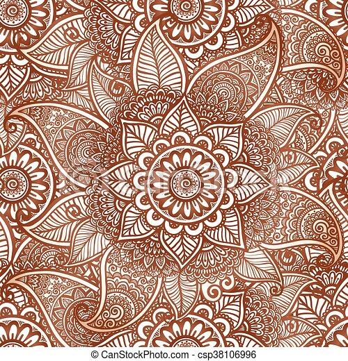 Indian mehndi henna tattoo style vector seamless pattern - csp38106996