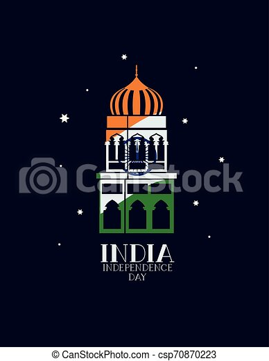 indian mosque temple with flag colors - csp70870223