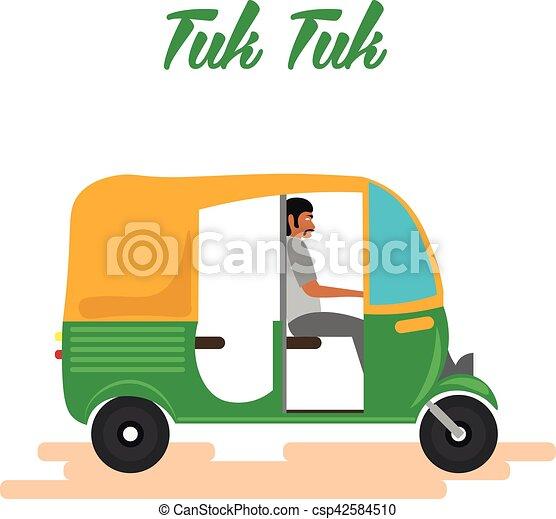 Indian motor rickshaw car. indian tuk tuk. vector ...