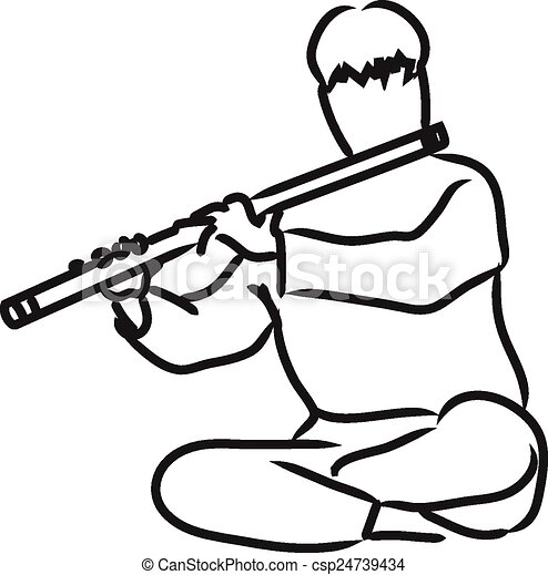 vector silhouette of indian musician playing flute vectors search rh canstockphoto ie