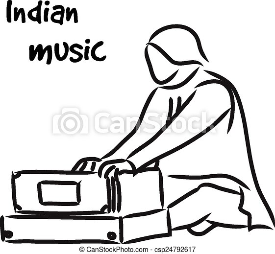 Indian musician playing harmonium