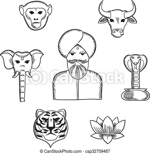 Indian Nature And National Symbols Icons Indian Nature And
