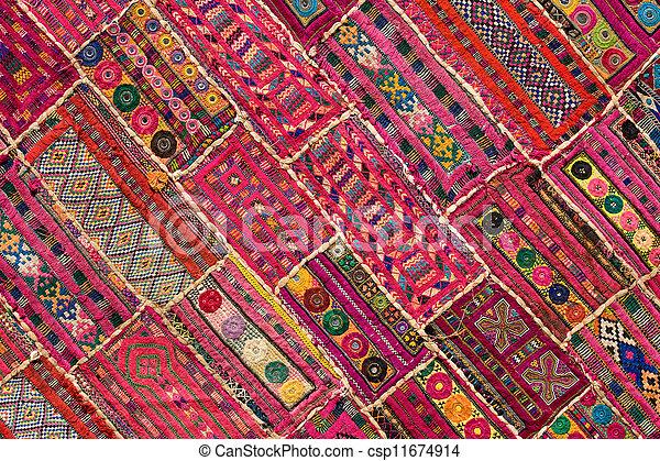 Indian patchwork carpet in Rajasthan, Asia - csp11674914