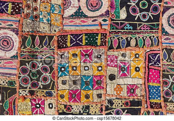 Indian patchwork carpet in Rajasthan, Asia - csp15678042