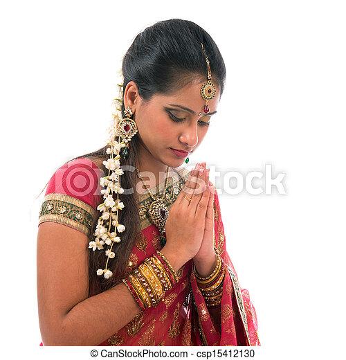Indian prayer isolated - csp15412130