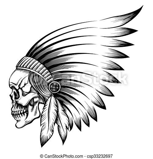 indian skull emblem indian chief skull in engraving style. Black Bedroom Furniture Sets. Home Design Ideas