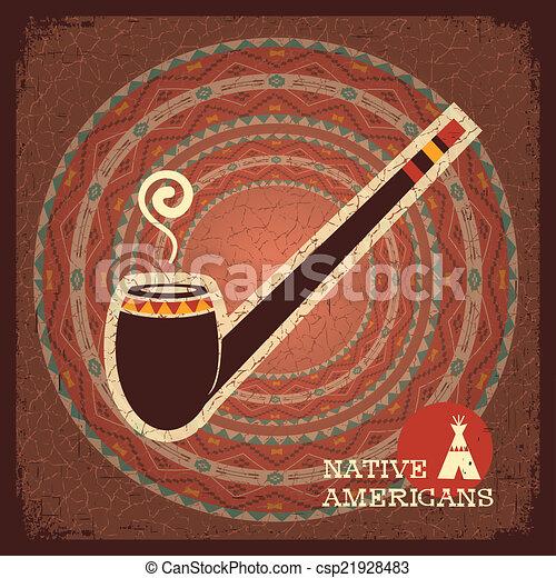 Indian smoking pipe poster - csp21928483