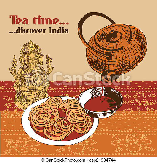 Classical Spicy Tea Time Cake And Elephant Headed God Symbol Discover India Poster With Teapot Vector Illustration