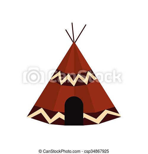 Indian Tent Icon Vector  sc 1 st  Can Stock Photo & Indian tent icon in flat style isolated on white background vector ...