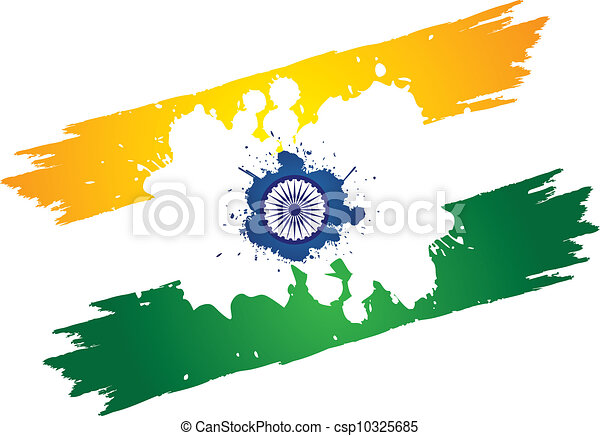Indian tri color national flag in orange or saffron white and green indian tri color national flag in orange or saffron white and green color painted using paint brush and splash of colors the center contains asoka chakra mightylinksfo